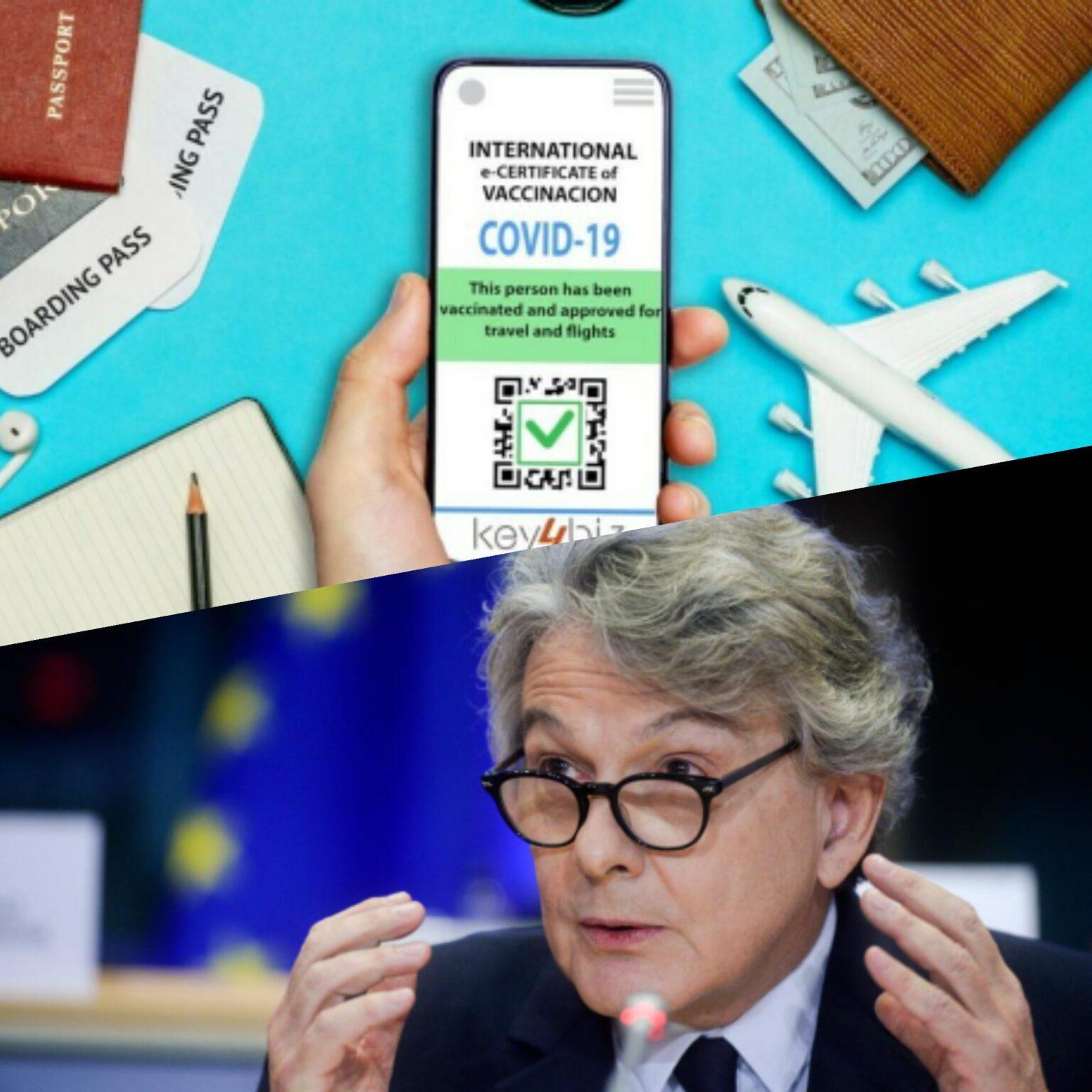 Foto del certificato vaccinale europeo e Thierry Breton