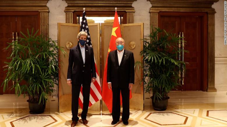 Foto John Kerry e Xie Zhenhua