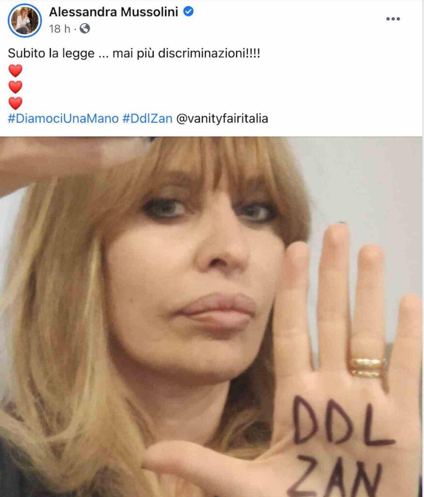 Alessandra Mussolini favorevole ddl Zan