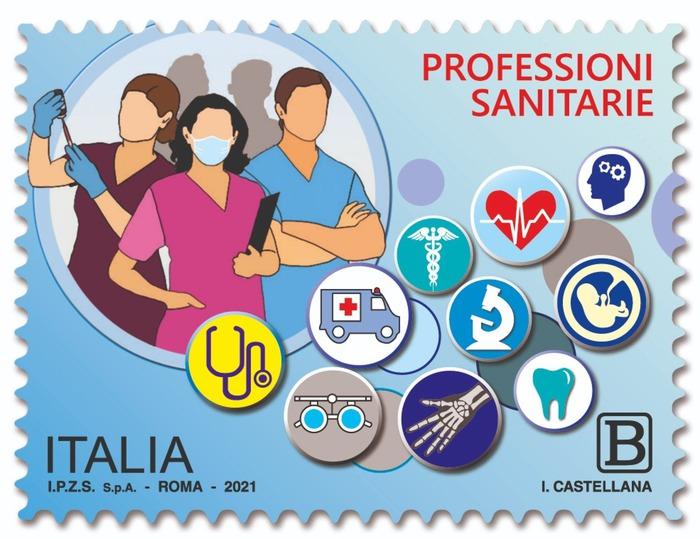 Foto del francobollo dedicato alle professioni sanitarie