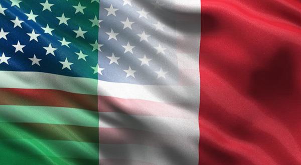 Bandiera italiana e statunitense unite