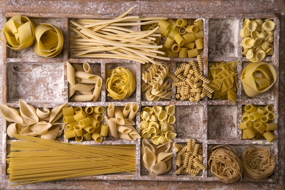 Foto dei vari formati di pasta